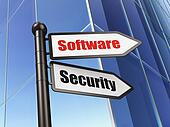 Privacy concept: sign Software Security on Building background