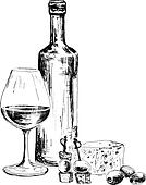 Bottle of wine and blue cheese