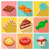 Candy, sweets and cakes icons poster