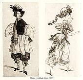 Vintage drawing,  ladies with hats and masquerade costumes, Paris fashion 1831