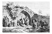Mary's Well in Nazareth in Israel, vintage engraving