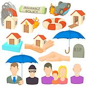 Insurance icons set, cartoon style
