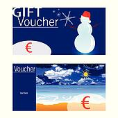 voucher for winter and summer with snowman and beach