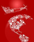 Christmas Santa in Sleigh with Reindeer over Earth Red