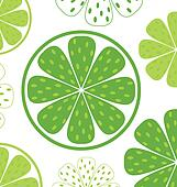 Lime slices pattern or background - green & white