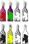 bottles of wine from grape berries inside