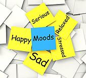 Moods Post-It Note Shows State Of Mind
