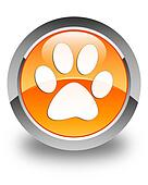 Animal footprint icon glossy orange round button