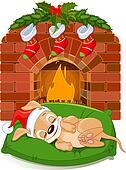 Christmas puppy near fireplace