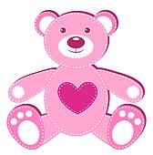 Pink applique bear.