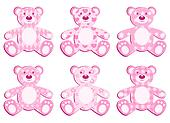 Set of pink applique bear.
