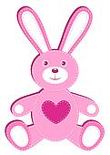 Pink applique hare.