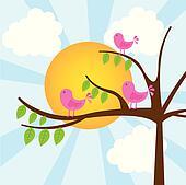birds with tree