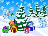 The winter cartoon illustration of a christmas tree and two rabb