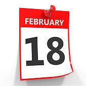 18 february calendar sheet with red pin.