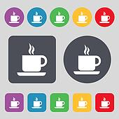 coffee icon sign. A set of 12 colored buttons. Flat design.