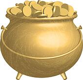 Vector gold pot with coins