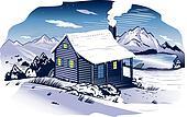 Snowy Mountainside Cabin