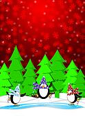 Penguins in Ice Skating Rink Winter Snowing Scene Illustration