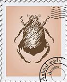 Vector stamp with a picture of a beetle