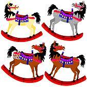 Four rocking ponies