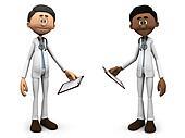 Cartoon doctors holding clipboards.
