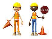 Cartoon road workers.