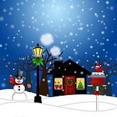 House with Lamp Post Snowman and Birdhouse Christmas Decoration in Snowing Winter Scene Landscape Illustration