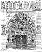 Door, Middle of the front Of Notre-Dame de Paris or Notre Dame Cathedral, vintage engraving.
