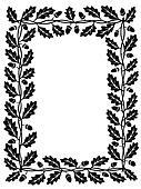 oak leaf frame black silhouette