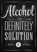 Poster joke Alcohol chalk