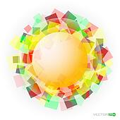 yellow translucent sphere with colored squares