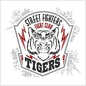 Street fighters - Fighting club emblem, label, badge, logo.