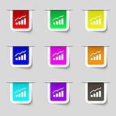 Growth and development concept. graph of Rate icon sign. Set of multicolored modern labels for your design.