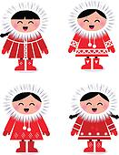 Cute stylized eskimo collection isolated on white