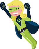 Cute green recycle superhero isolated on white