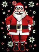 Santa Claus And Snowflakes