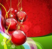 New Year's red-green background with waves and red balls