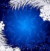 Blue Christmas holiday background with snowflakes and silver fir twig