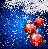 Blue Christmas festive background with red balls and silver fir twig