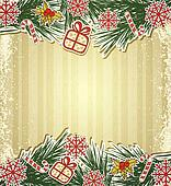 New retro background with tree branches and eating Christmas toys