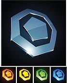 3d heptagonal emblems.