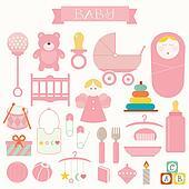 Vector illustration of babies set