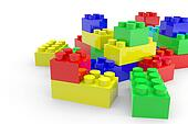 Color lego blocks toy isolated on white.