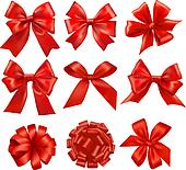 Big set of gift bows with ribbons