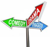 Comedy Drama Tragedy - 3 Colorful Arrow Signs Theatre