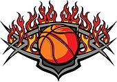 Basketball Ball Template with Flame