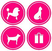 icon with pet, silhouette and gift