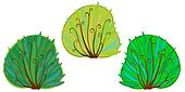 The illustration of three cartoon bushes.