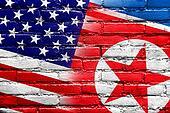 USA and North Korea Flag painted on brick wall